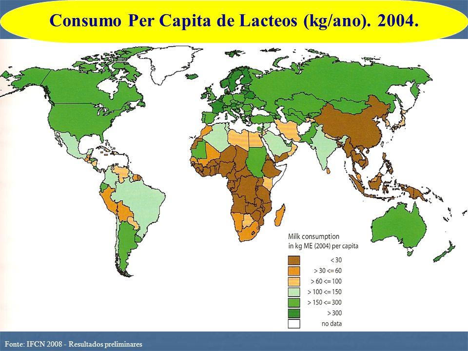 Consumo Per Capita de Lacteos (kg/ano). 2004.