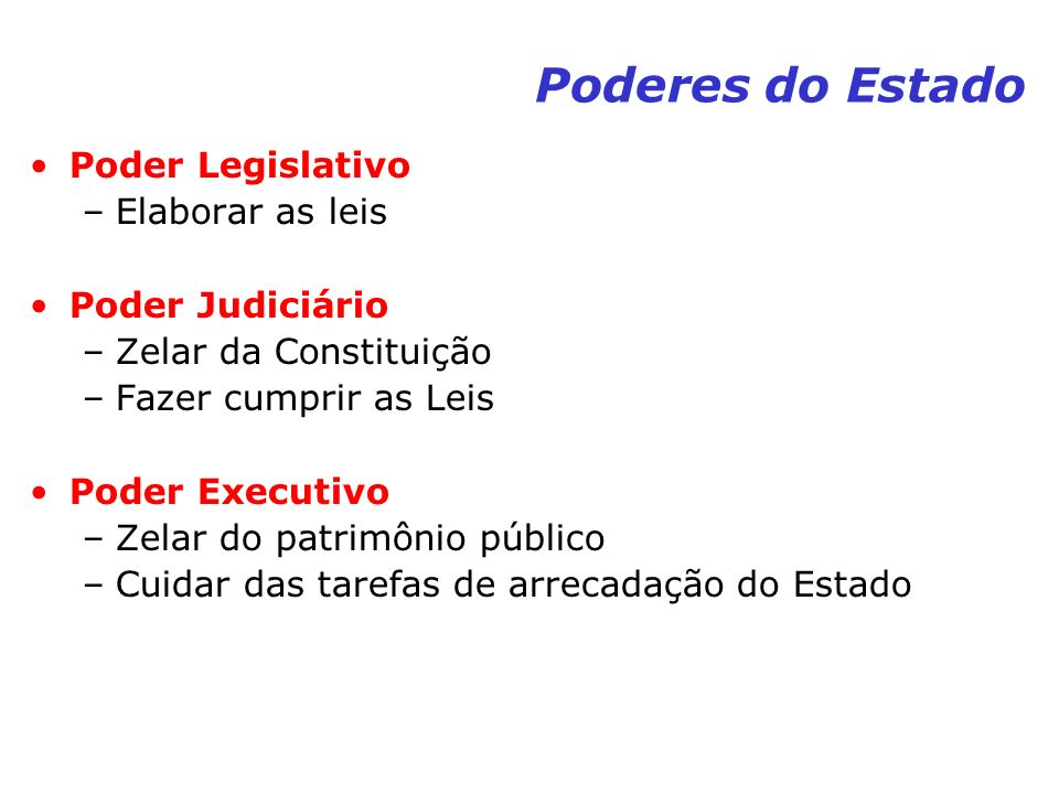 Poderes do Estado Poder Legislativo Elaborar as leis Poder Judiciário