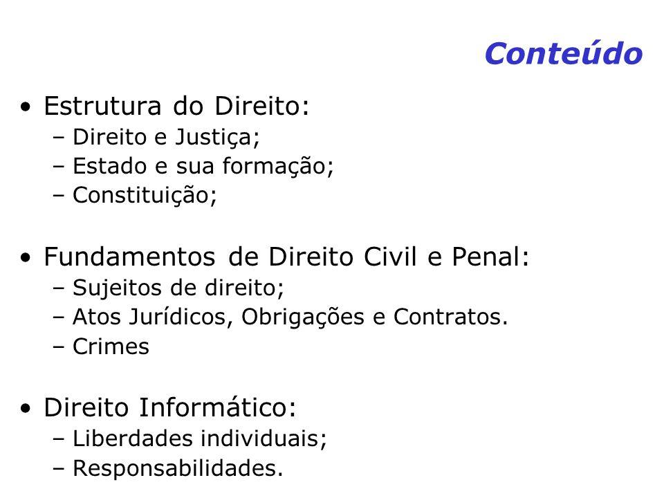 Conteúdo Estrutura do Direito: Fundamentos de Direito Civil e Penal: