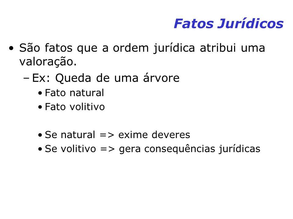 Fatos Jurídicos São fatos que a ordem jurídica atribui uma valoração.
