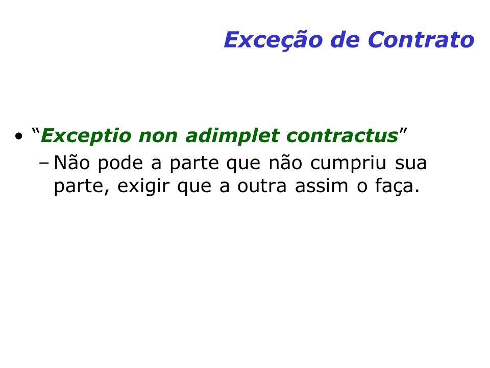 Exceção de Contrato Exceptio non adimplet contractus