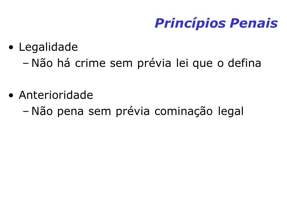 Princípios Penais Legalidade Não há crime sem prévia lei que o defina
