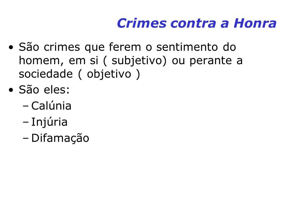 Crimes contra a Honra São crimes que ferem o sentimento do homem, em si ( subjetivo) ou perante a sociedade ( objetivo )