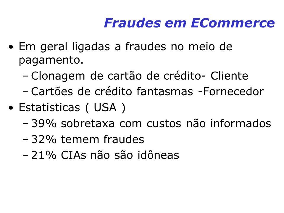 Fraudes em ECommerce Em geral ligadas a fraudes no meio de pagamento.