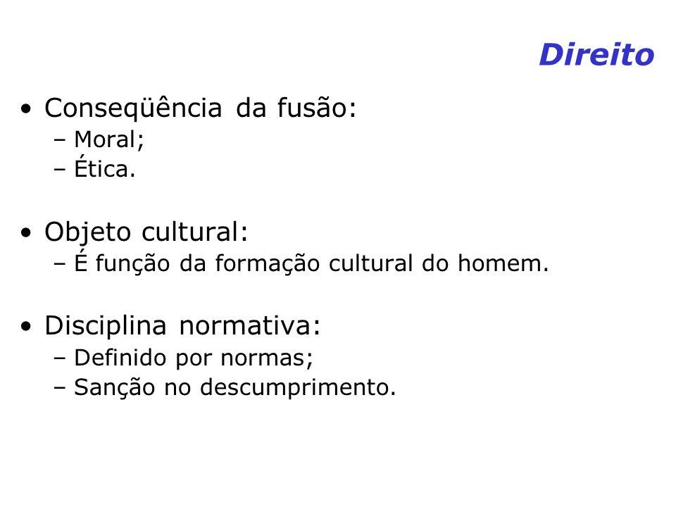 Direito Conseqüência da fusão: Objeto cultural: Disciplina normativa: