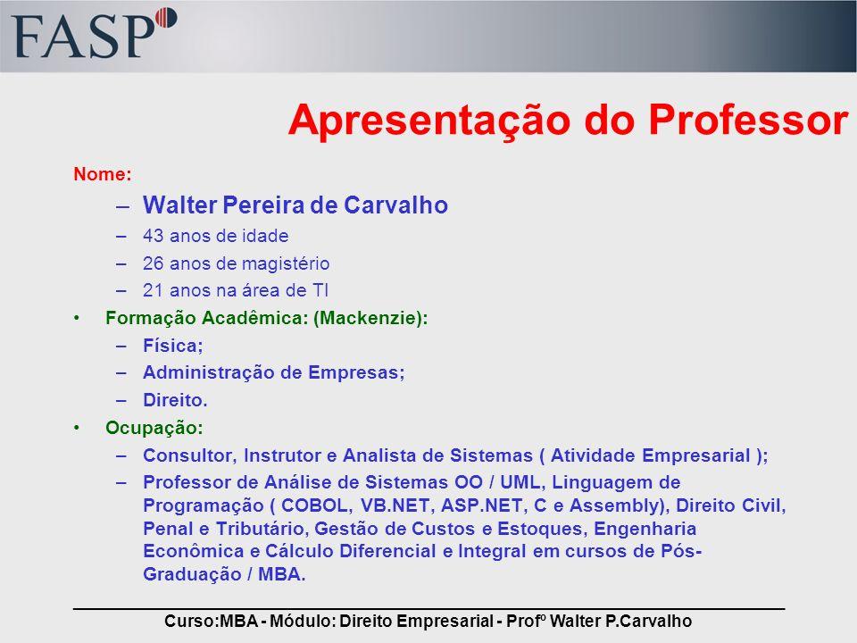 Apresentação do Professor