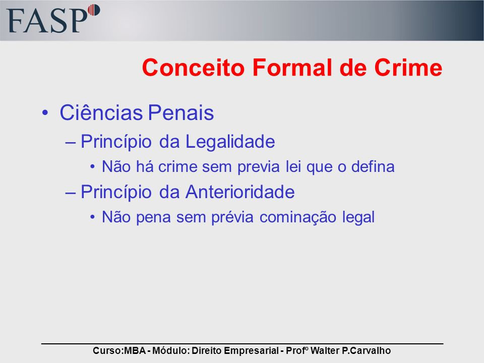Conceito Formal de Crime