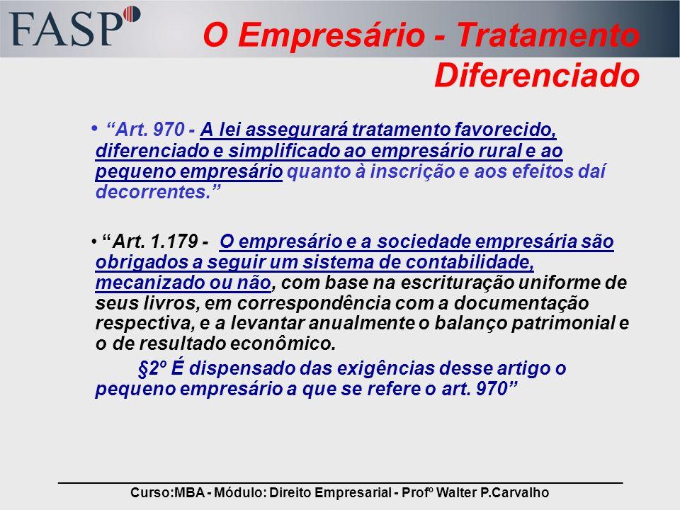 O Empresário - Tratamento Diferenciado