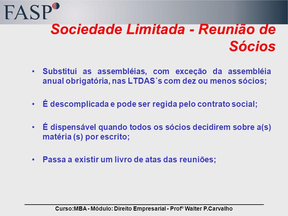 Sociedade Limitada - Reunião de Sócios