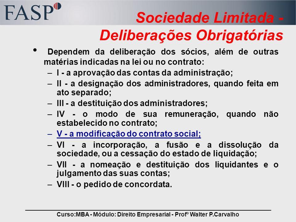 Sociedade Limitada - Deliberações Obrigatórias