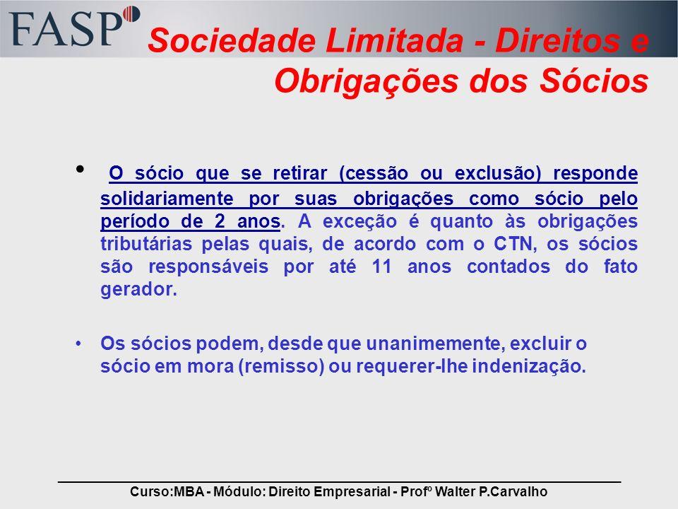 Sociedade Limitada - Direitos e Obrigações dos Sócios
