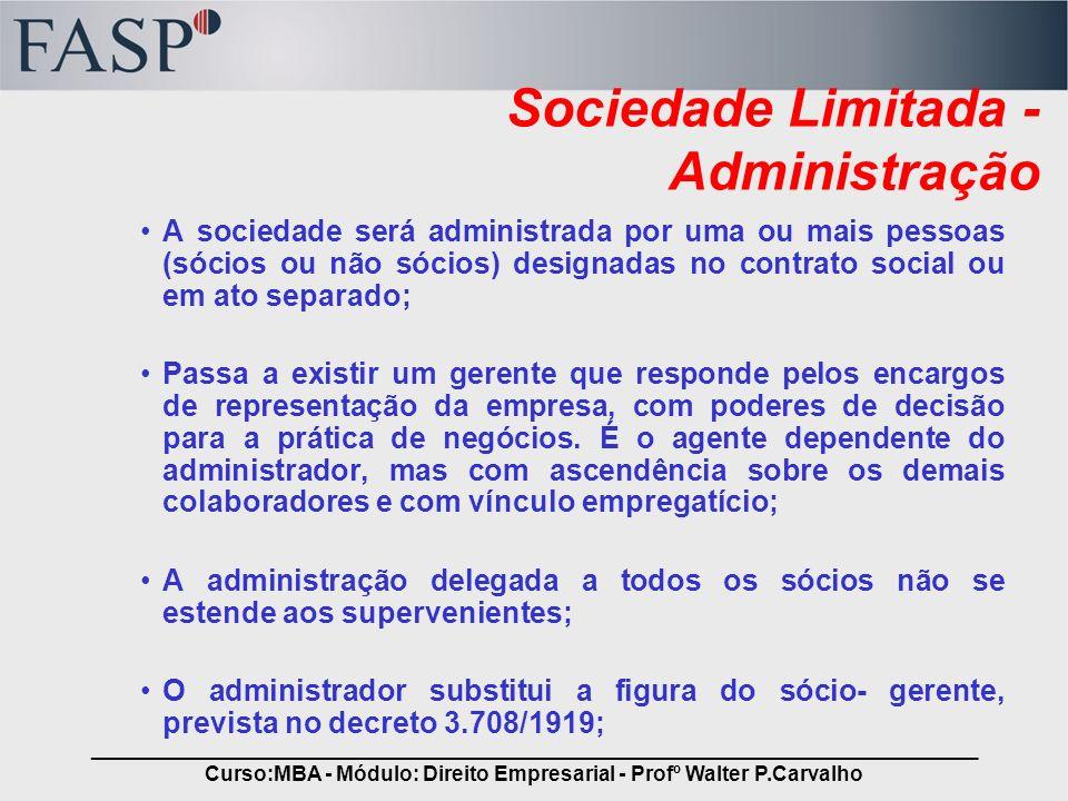 Sociedade Limitada - Administração