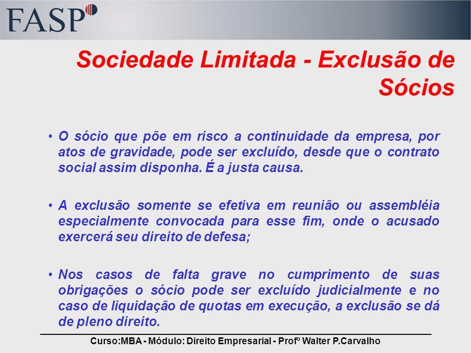 Sociedade Limitada - Exclusão de Sócios