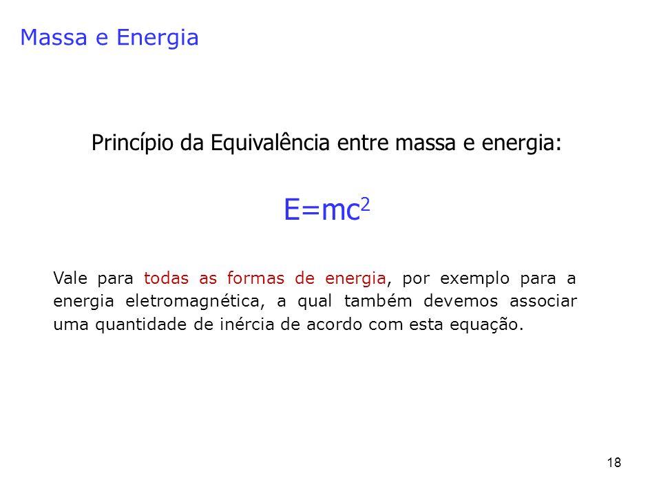 Princípio da Equivalência entre massa e energia: