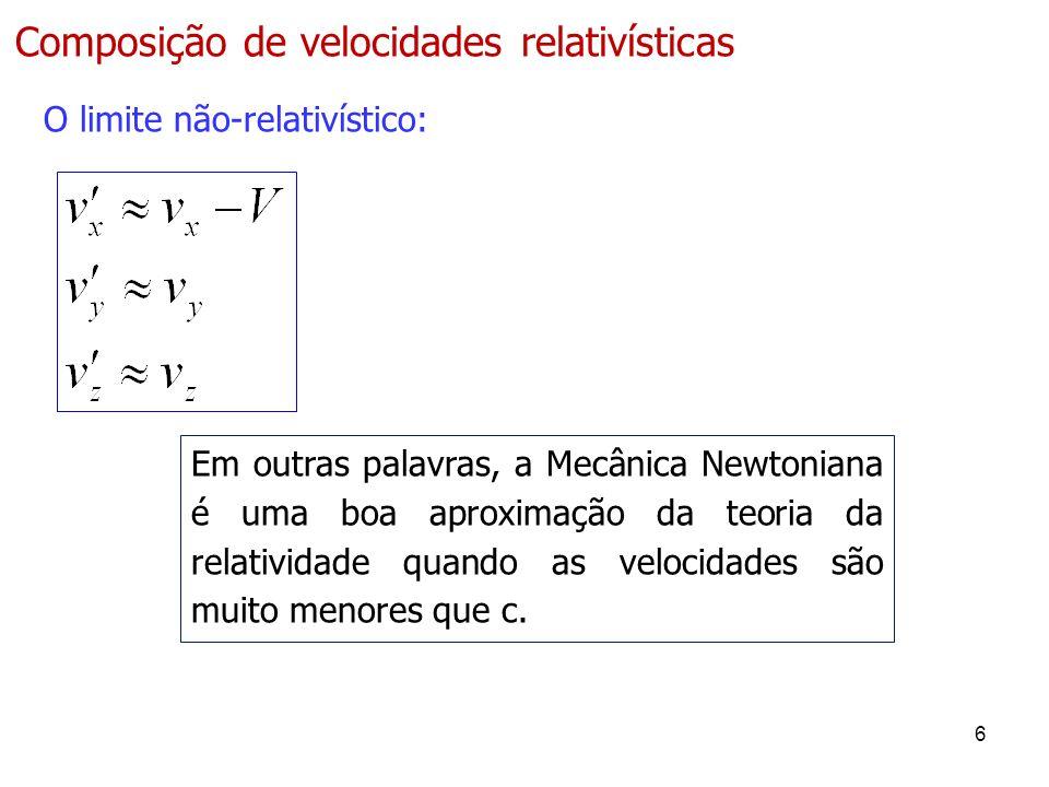Composição de velocidades relativísticas