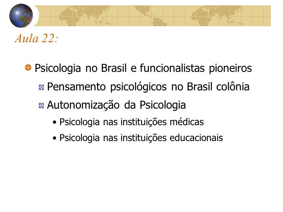 Aula 22: Psicologia no Brasil e funcionalistas pioneiros