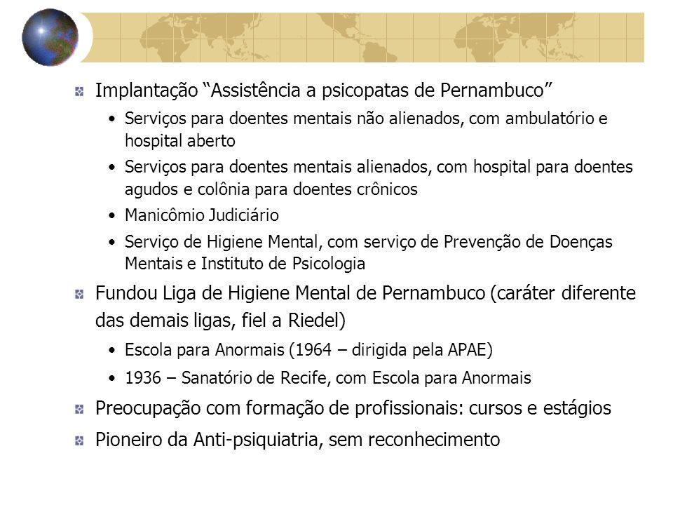 Implantação Assistência a psicopatas de Pernambuco