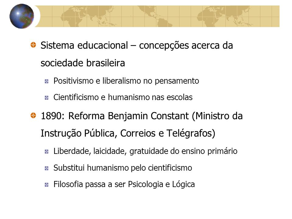Sistema educacional – concepções acerca da sociedade brasileira
