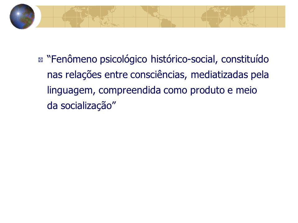 Fenômeno psicológico histórico-social, constituído nas relações entre consciências, mediatizadas pela linguagem, compreendida como produto e meio da socialização