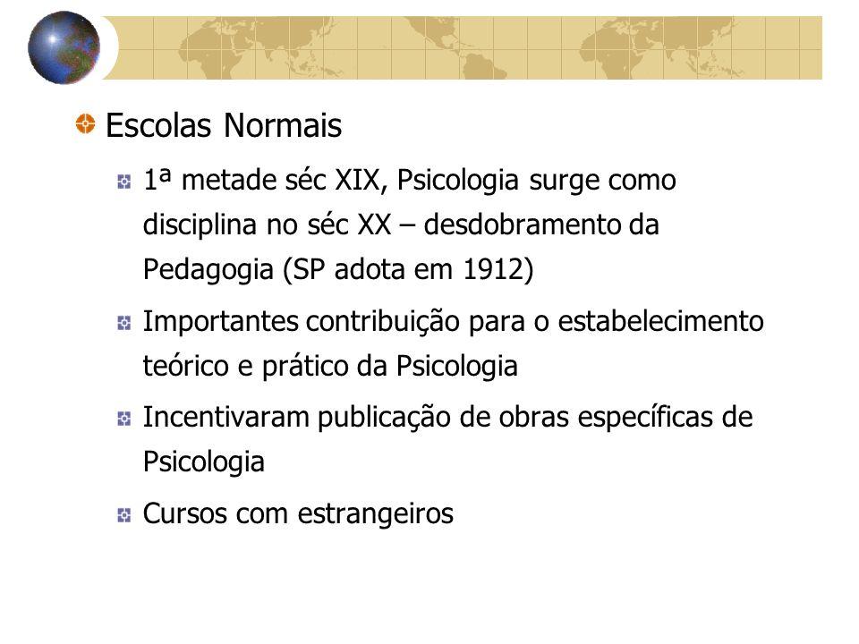 Escolas Normais 1ª metade séc XIX, Psicologia surge como disciplina no séc XX – desdobramento da Pedagogia (SP adota em 1912)