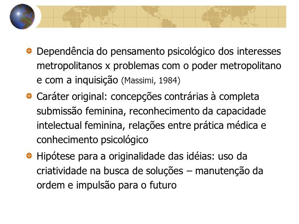 Dependência do pensamento psicológico dos interesses metropolitanos x problemas com o poder metropolitano e com a inquisição (Massimi, 1984)