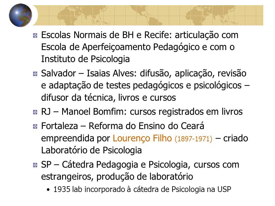 RJ – Manoel Bomfim: cursos registrados em livros