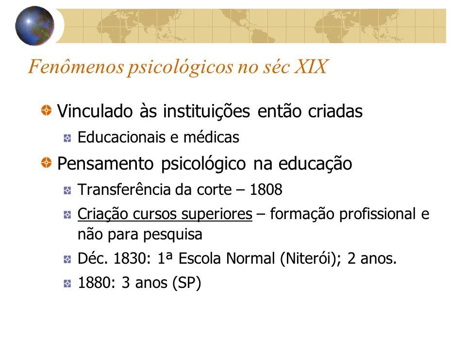 Fenômenos psicológicos no séc XIX