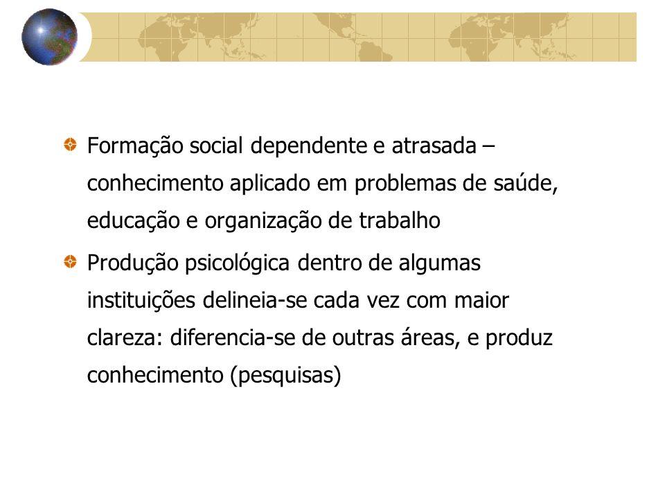 Formação social dependente e atrasada – conhecimento aplicado em problemas de saúde, educação e organização de trabalho