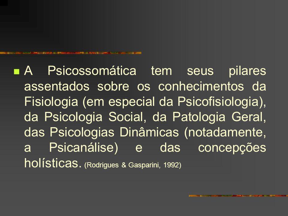 A Psicossomática tem seus pilares assentados sobre os conhecimentos da Fisiologia (em especial da Psicofisiologia), da Psicologia Social, da Patologia Geral, das Psicologias Dinâmicas (notadamente, a Psicanálise) e das concepções holísticas.