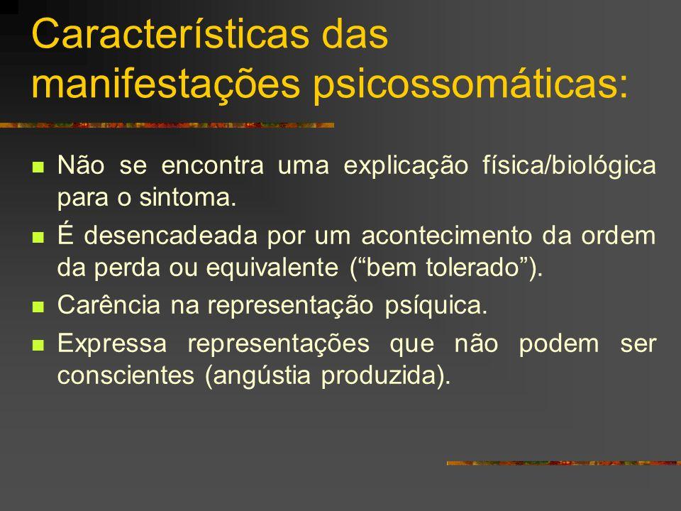 Características das manifestações psicossomáticas: