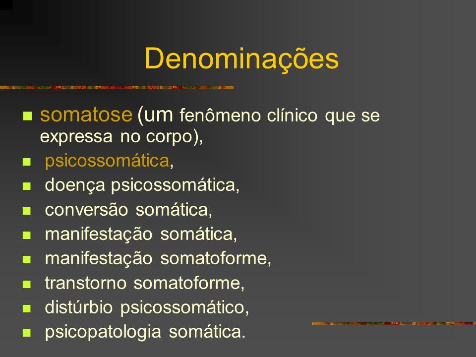 Denominações somatose (um fenômeno clínico que se expressa no corpo),