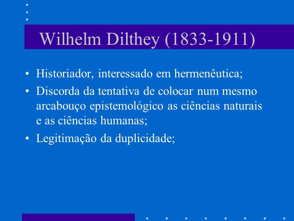 Wilhelm Dilthey (1833-1911) Historiador, interessado em hermenêutica;