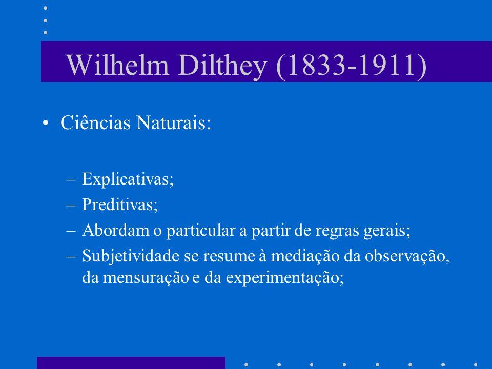 Wilhelm Dilthey (1833-1911) Ciências Naturais: Explicativas;