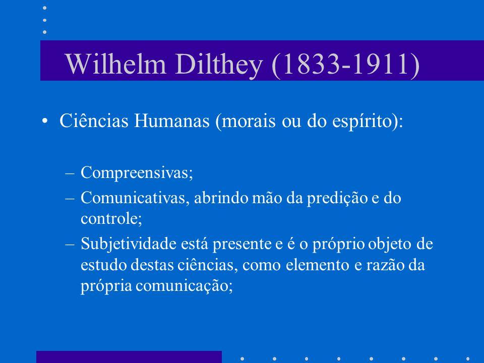 Wilhelm Dilthey (1833-1911) Ciências Humanas (morais ou do espírito):