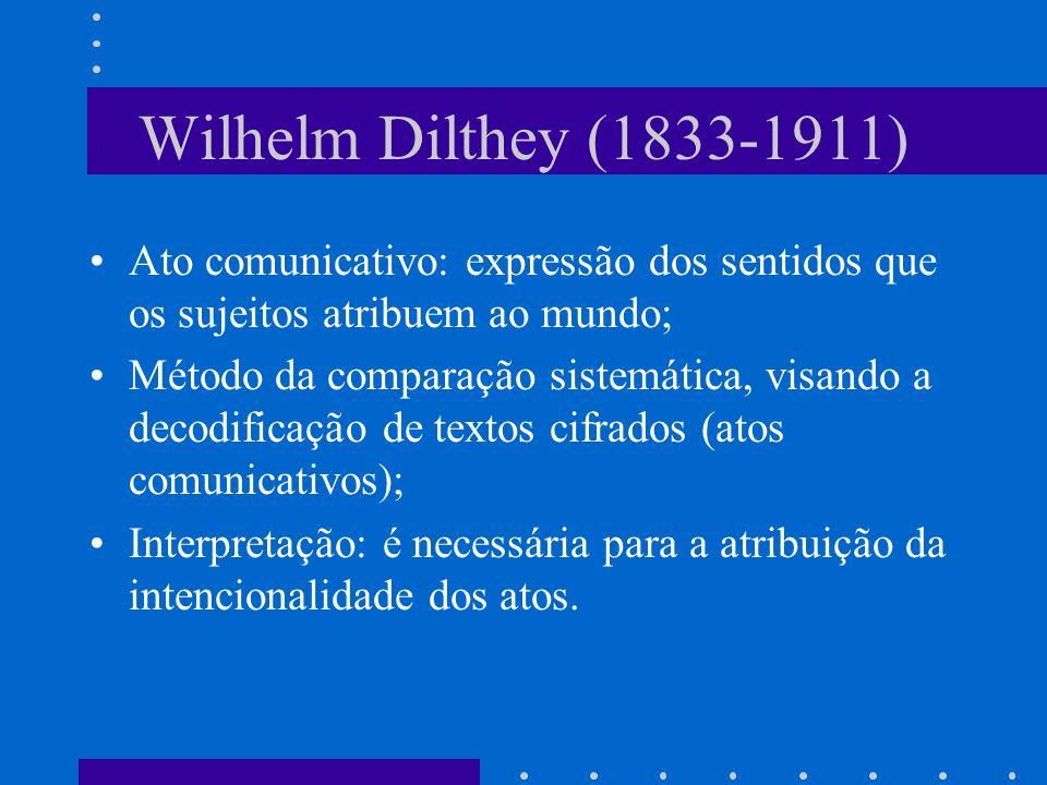 Wilhelm Dilthey (1833-1911) Ato comunicativo: expressão dos sentidos que os sujeitos atribuem ao mundo;