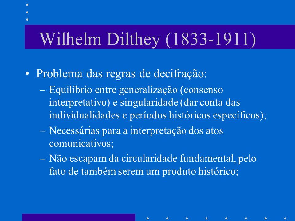 Wilhelm Dilthey (1833-1911) Problema das regras de decifração: