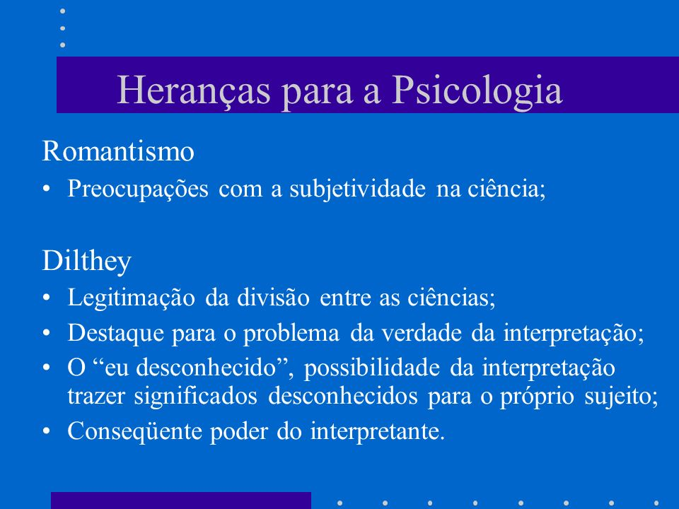 Heranças para a Psicologia
