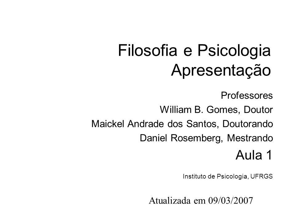 Filosofia e Psicologia Apresentação