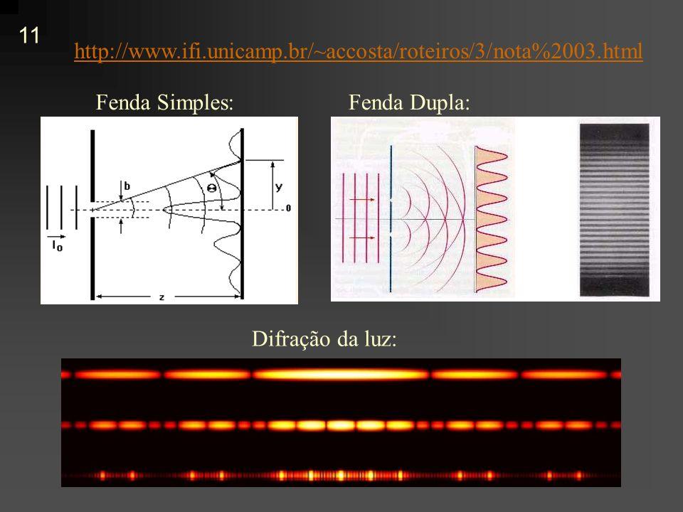 http://www.ifi.unicamp.br/~accosta/roteiros/3/nota%2003.html Fenda Simples: Fenda Dupla: Difração da luz: