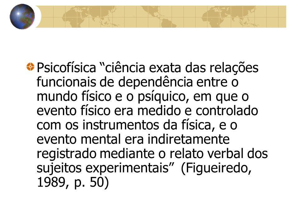 Psicofísica ciência exata das relações funcionais de dependência entre o mundo físico e o psíquico, em que o evento físico era medido e controlado com os instrumentos da física, e o evento mental era indiretamente registrado mediante o relato verbal dos sujeitos experimentais (Figueiredo, 1989, p.