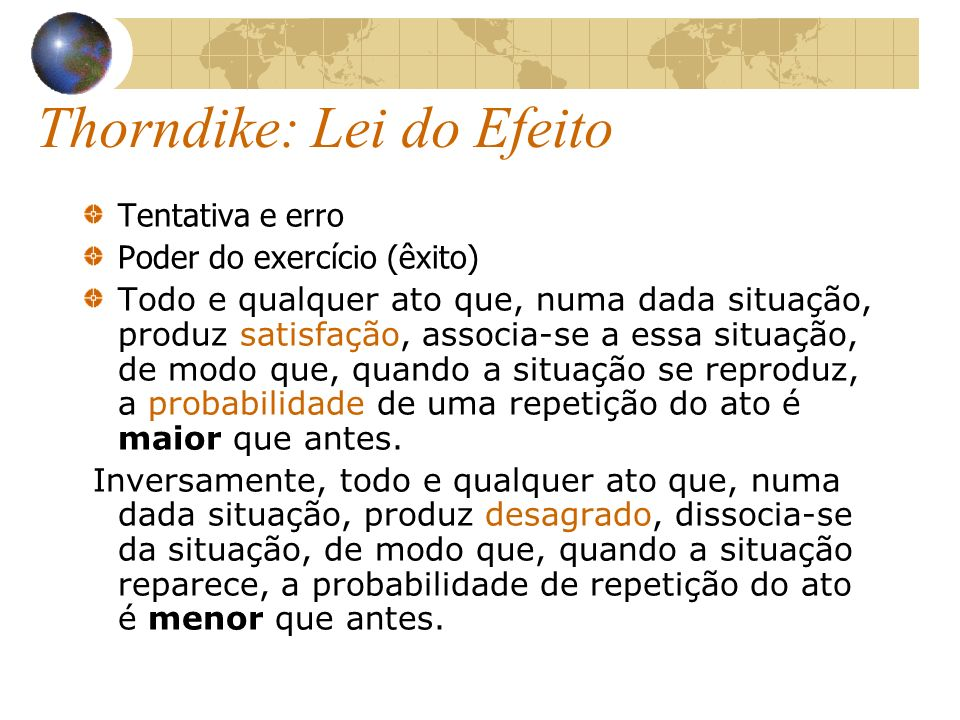 Thorndike: Lei do Efeito