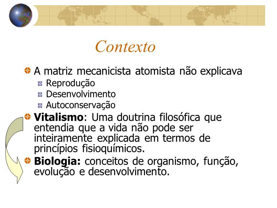 Contexto A matriz mecanicista atomista não explicava