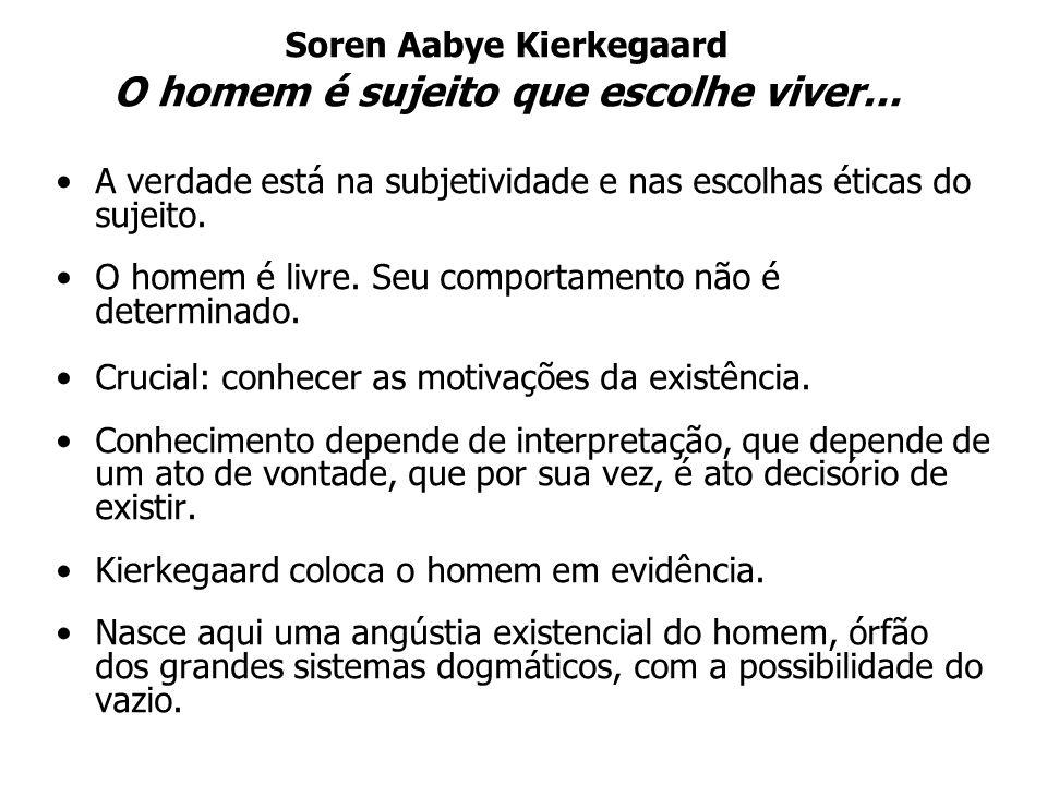 Soren Aabye Kierkegaard O homem é sujeito que escolhe viver...