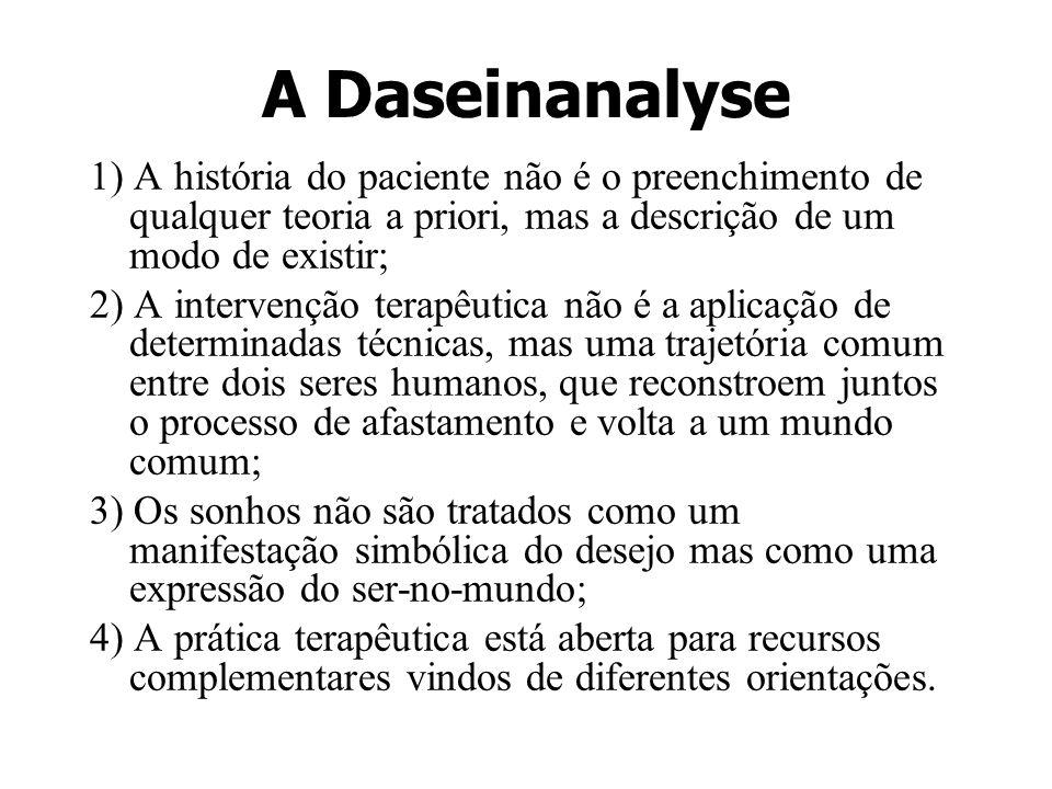 A Daseinanalyse 1) A história do paciente não é o preenchimento de qualquer teoria a priori, mas a descrição de um modo de existir;