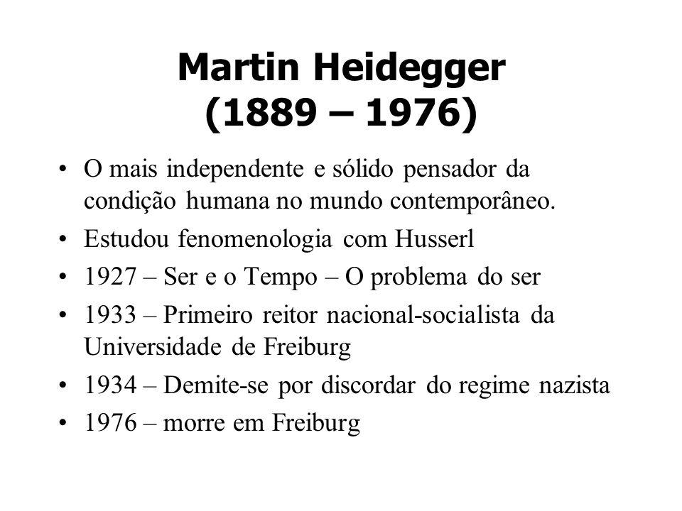 Martin Heidegger (1889 – 1976) O mais independente e sólido pensador da condição humana no mundo contemporâneo.