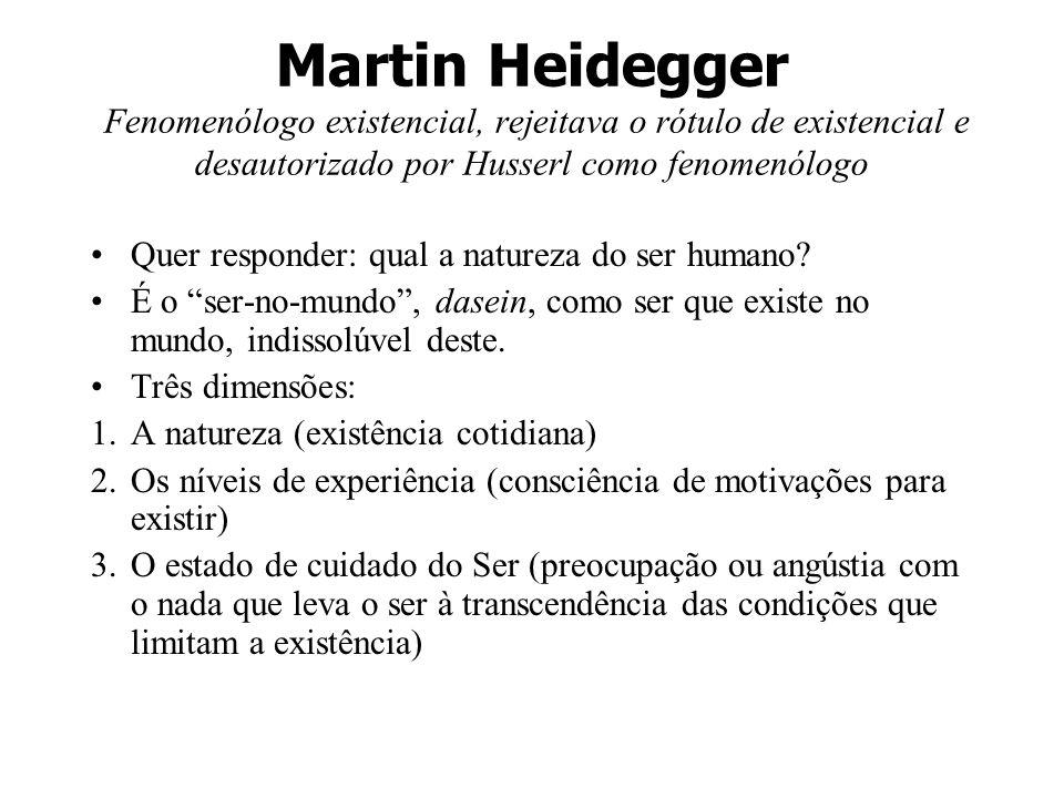 Martin Heidegger Fenomenólogo existencial, rejeitava o rótulo de existencial e desautorizado por Husserl como fenomenólogo