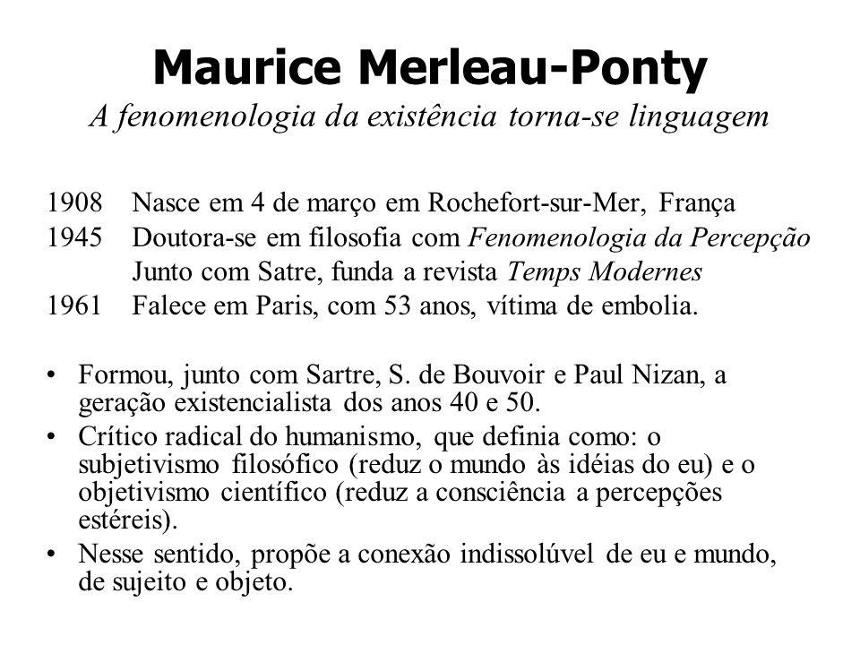Maurice Merleau-Ponty A fenomenologia da existência torna-se linguagem