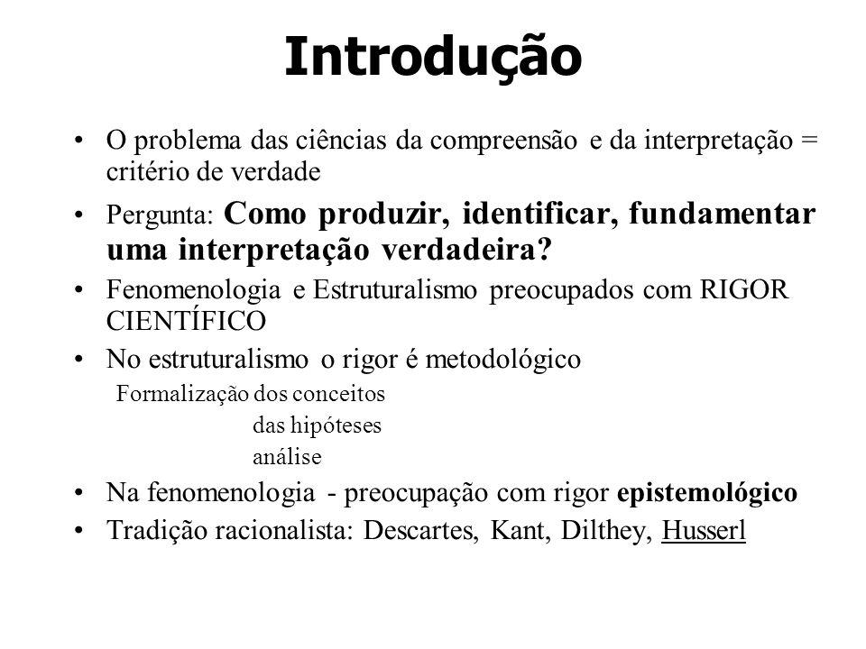 Introdução O problema das ciências da compreensão e da interpretação = critério de verdade.