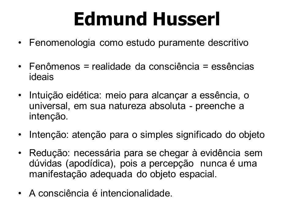 Edmund Husserl Fenomenologia como estudo puramente descritivo