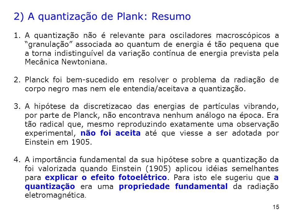 2) A quantização de Plank: Resumo